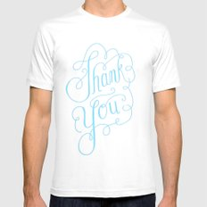 Thank you Hand Lettered Calligraphy White Mens Fitted Tee MEDIUM