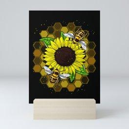 Hippie Sunflower Bees Mini Art Print