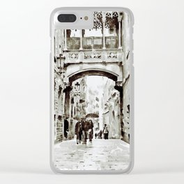 Carrer del Bisbe - Barcelona Black and White Clear iPhone Case