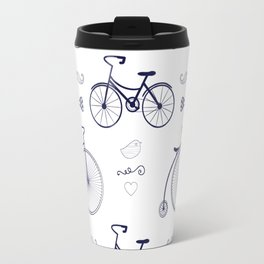 Hipster Bicycles Moustache and Bow Travel Mug