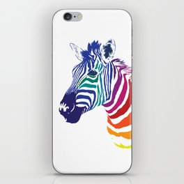Rainbow Zebra Colorful Animals Whimsical Art iPhone Skin