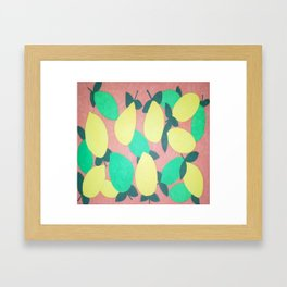 Lemony Fresh Citrus Pattern Framed Art Print