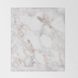 Rose Gold Marble Blush Pink Metallic Foil Throw Blanket
