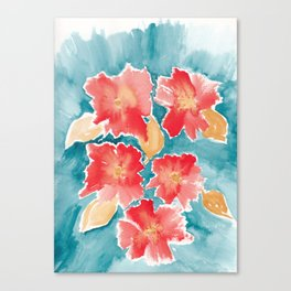 Orange Burst Florals Canvas Print
