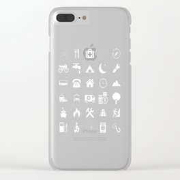 Extreme White Icon model: Traveler emoticon help for travel t-shirt Clear iPhone Case