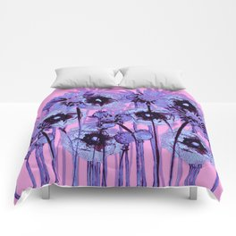 blue flowers on pink background Comforters