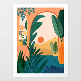 Santa Fe Oasis / Desert Landscape with Plants Art Print