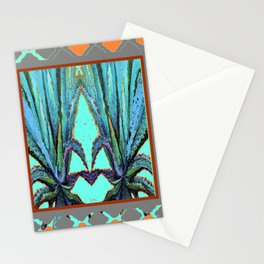TURQUOISE WESTERN AGAVE CACTI ART Stationery Cards