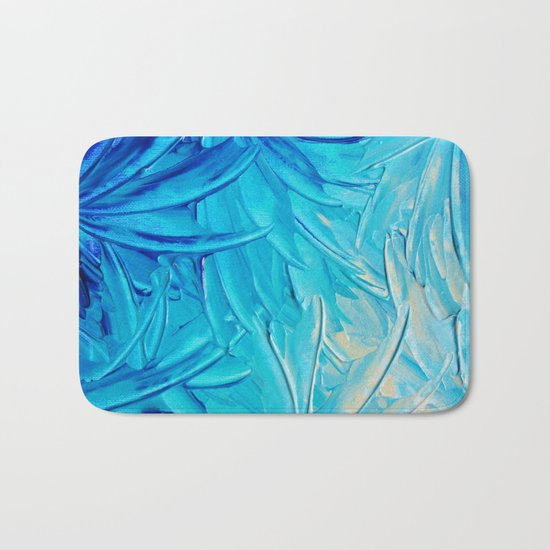 WATER FLOWERS - Beautiful Water Ocean Theme Shades Blue Floral Modern Design Abstract Painting Bath Mat