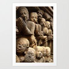 Stone carvings - Borobudur, Jogyakarta Art Print