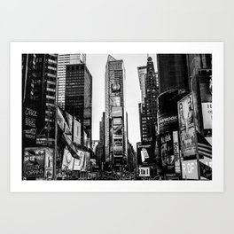 Time Square in black and white. Art Print