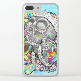 Skulls, Flowers & Candy Clear iPhone Case