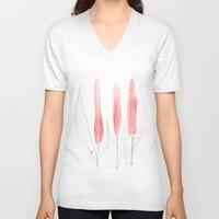tulip V-neck T-shirts featuring TuliP by Ceren Aksu Dikenci