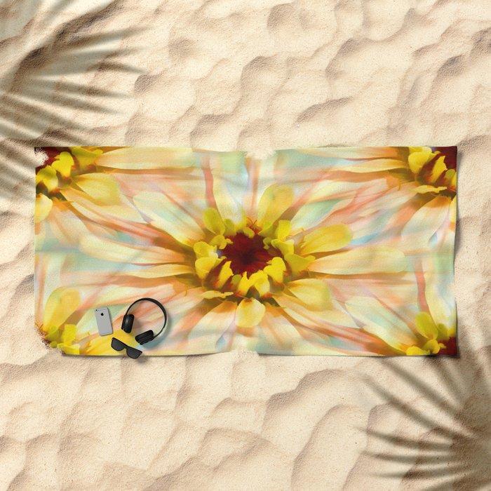 Painterly Sunset Seamless Zinnia Beach Towel