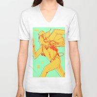 runner V-neck T-shirts featuring Runner by gallerydod