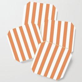 Big Foot Feet orange - solid color - white vertical lines pattern Coaster