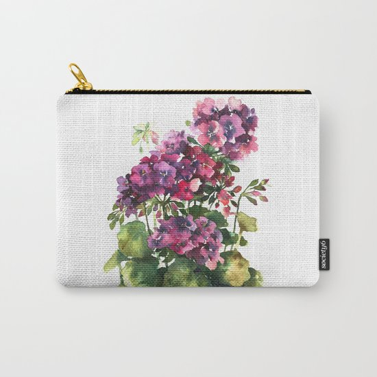 Watercolor geranium red pink flowers Carry-All Pouch