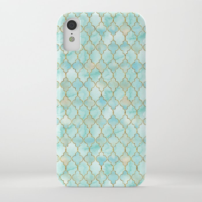 Luxury Aqua and Gold oriental pattern iPhone Case