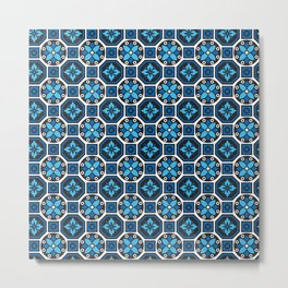 Turquoise Winter Pattern Metal Print
