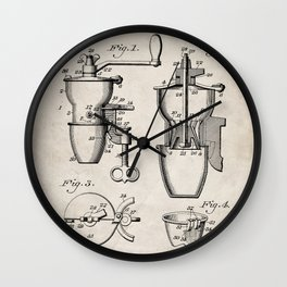 Coffee Mill Patent - Coffee Shop Art - Antique Wall Clock