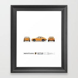 Porsche 1968 912 Bahama Yellow Kevin Lynch 3 Views Framed Art Print