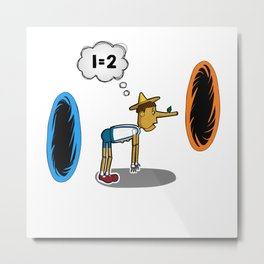 Pinocchio playing Portal Metal Print
