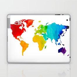 Original Watercolor - Map of The World - Travel Art - Chakra Rainbow Colors Laptop & iPad Skin