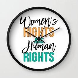 Women's rights are human rights Black, Orange & Green, Feminist slogan Wall Clock