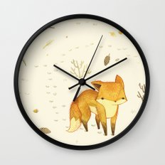 Lonely Winter Fox Wall Clock
