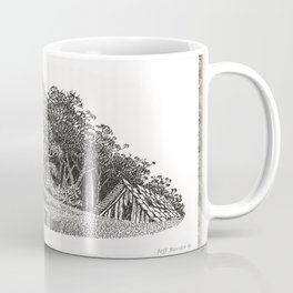 WINDSWEPT EUCALYPTUS TREE AND OLD BARN ON THE MENDOCINO COAST Coffee Mug