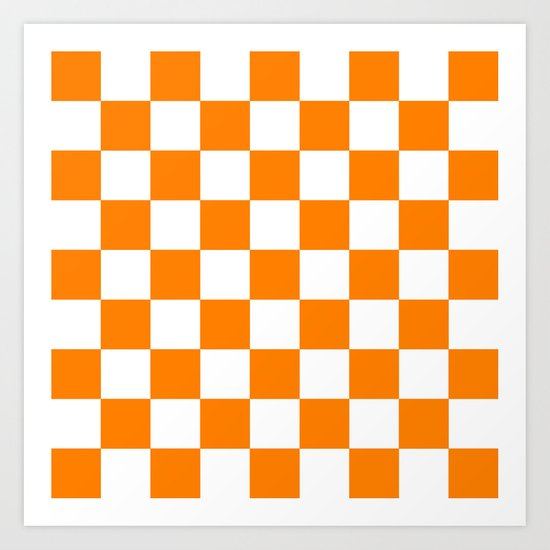 Checker (Orange/White) Art Print
