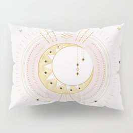 MYSTIC  TRIBAL MOON - soft pink and gold Pillow Sham