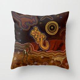 Desert Heat - Australian Aboriginal Art Theme Throw Pillow