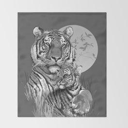 Tiger with Cub (B/W) Throw Blanket