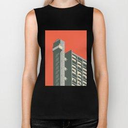 Trellick Tower London Brutalist Architecture - Plain Red Biker Tank