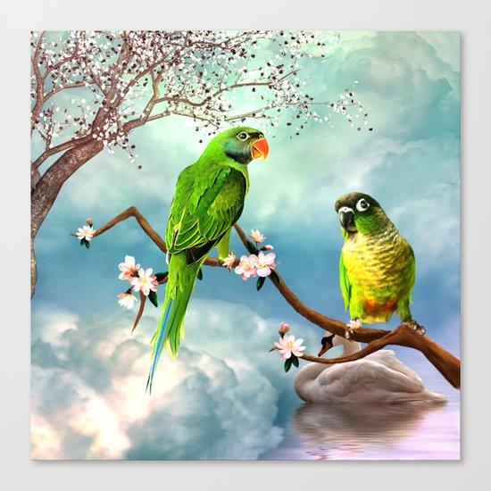 Wonderful, cute parrots Canvas Print