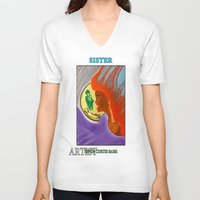 sister V-neck T-shirts featuring SISTER by KEVIN CURTIS BARR'S ART OF FAMOUS FACES