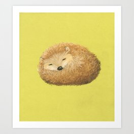 Sleepy snuggly grumpy cute: hedghog. Whimsical adorable wall art with lime green background Art Print