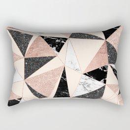 Modern black white marble rose gold glitter foil geometric abstract triangles pattern Rectangular Pillow