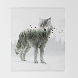 Wild I Shall Stay | Wolf Throw Blanket