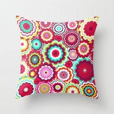 Bright Flower Dash Throw Pillow