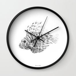Lionfish - Pterois volitans (black and white, with scientific name) Wall Clock