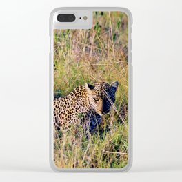 Leopard Hunting Clear iPhone Case
