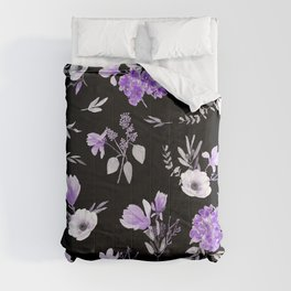 Lavender & Black Pattern Comforters