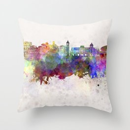 Nice skyline in watercolor background Throw Pillow