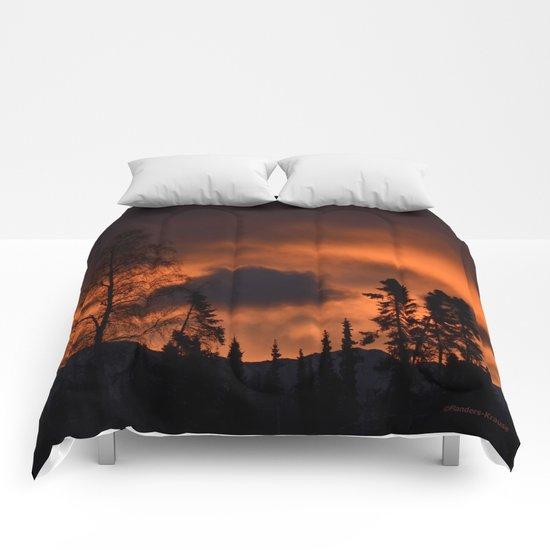 Sunrise Behind Chugach Mts. Comforters