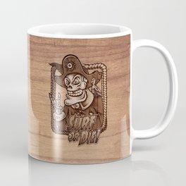 Zombie Pirate Skully Surf or Die on Wood. Coffee Mug