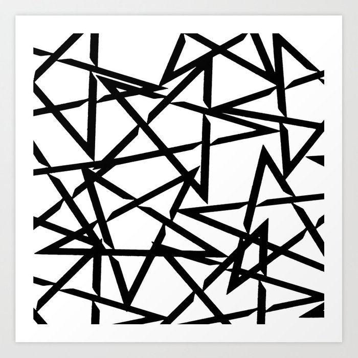 Interlocking Black Star Polygon Shape Design Art Print by taiche