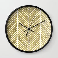 gold foil Wall Clocks featuring Gold Foil Chevron by Berty Bob