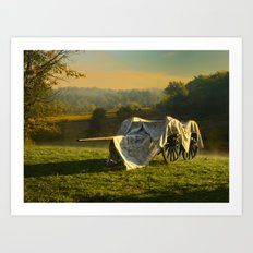 Civil War canon and limber in the early morning mist. Art Print
